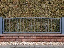 Metal Fence In White Gray Stock Photos
