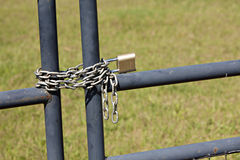 Metal fence with lock and chain Royalty Free Stock Photo
