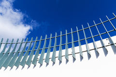 Metal fence on modern white bridge Royalty Free Stock Photos