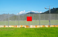Metal fence in the nature Royalty Free Stock Photos