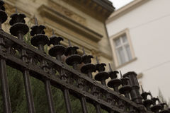Metal fence near the private building in Lviv. Ukraine Royalty Free Stock Image