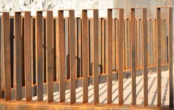 Metal fence on the public place Royalty Free Stock Photos