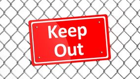 Metal fence with red sign Royalty Free Stock Photography