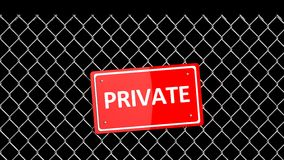 Metal fence with red sign Royalty Free Stock Photo