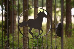 Metal fence in the shape of galloping horse. Grillwork Royalty Free Stock Image