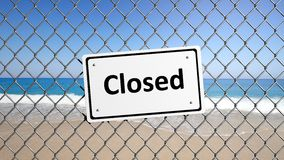 Metal fence with sign Closed Royalty Free Stock Photos