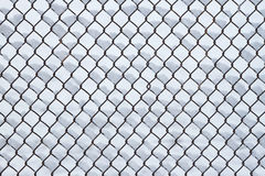 Metal fence with snow. Metal fence grid with snow, can be used as background Stock Image