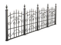 Metal fence view angle on a white background. 3d render image Royalty Free Stock Image