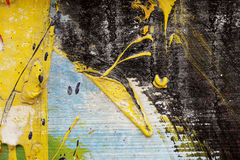 Metal fence with yellow, black,blue,white and green  paint. Small part of metal fence painted with yellow, black,blue,white and green  paint - Abstract Stock Photo