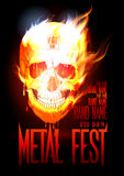 Metal fest design template with skull in flames. Royalty Free Stock Image
