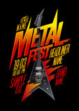 Metal fest poster design with vintage v style electro guitar. Copy space mockup Royalty Free Stock Photography
