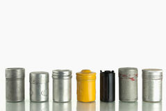 Metal Film Canisters. Group of aged metal film canisters Royalty Free Stock Images
