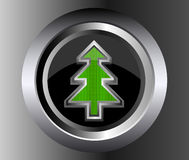Metal Fir Christmas Tree Vector on glossy web. Button illustration on black background Stock Photo