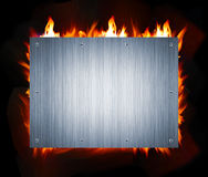 Metal and fire. Abstract metal and fire flame background Stock Photos