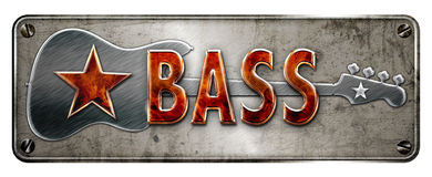 Metal and fire banner of the word BASS. Fire style 3D Chrome/metallic 'BASS' text on a banner or metal plate image Royalty Free Stock Images