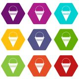 Metal fire bucket icon set color hexahedron. Metal fire bucket icon set many color hexahedron isolated on white vector illustration Royalty Free Stock Photo