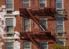 Metal fire escape. Manhattan, New York, America, USA stock image