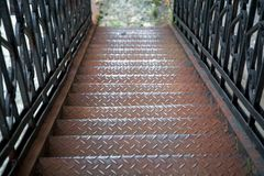 The metal fire escape. royalty free stock image