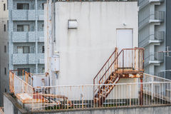 Metal fire escape outside building . Stock Photography