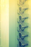Metal fire escape outside building . ( Filtered image processed Royalty Free Stock Photo