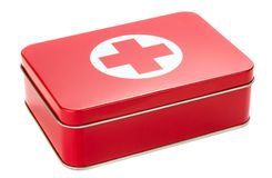 A metal first aid box. NIEDERSACHSEN, GERMANY AUGUST 10, 2014 - A metal first aid box on a white background Stock Images