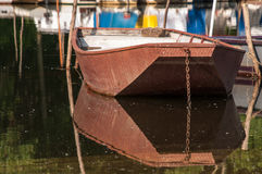 METAL FISHING BOAT ON THE RIVER Stock Image