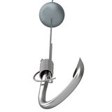 Metal fishing hook and line Stock Photo