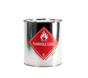 Metal Flammable Liquid Can. Metal hazardous materials shipping can sealed with lid and safety clips with flammable liquid warning label for resin solution noting Royalty Free Stock Image