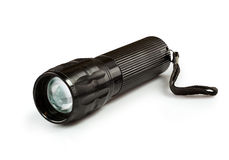 Metal flashlight. Isolated on white background Stock Photos