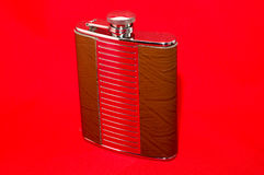 Metal flask for alcohol Royalty Free Stock Photos