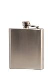 Metal flask for alcoholic beverages. On white background Stock Photography