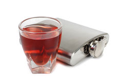 Metal flask whiskey Royalty Free Stock Photo