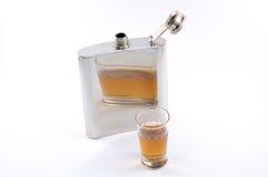 Metal flask whiskey Royalty Free Stock Photos