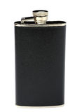Metal flask. On a white background Royalty Free Stock Images