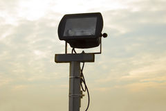 Metal floodlight for street lighting. Closeup Stock Images