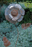 Metal Flower Sculpture. In the gardens of a winery in Amador County, Northern California Stock Image