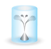 Metal Flower Under Transparent Cover Royalty Free Stock Image