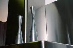 Metal flower vases Royalty Free Stock Image