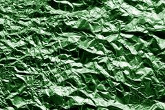 Metal foil texture in green color. Stock Photo