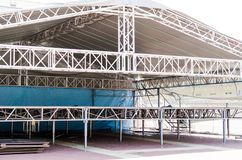 Metal folding stage for concert stock image