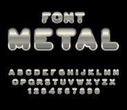 Free Metal Font. ABC Of Iron. Steel Alphabet. Metallic Shimmering Let Royalty Free Stock Image - 77489746