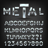 Metal font with shadow on black background. Chrome typeface symbols and letters. Royalty Free Stock Photo