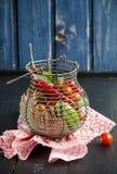 Metal food basket full of fresh vegetables Stock Photos