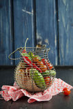 Metal food basket full of fresh vegetables Royalty Free Stock Photography