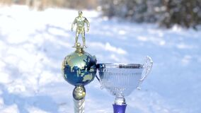 Metal football cups in the open air.  stock video footage