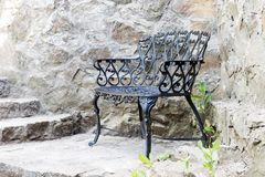 Metal forged bench Royalty Free Stock Image