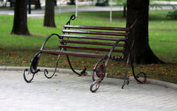 Metal forged bench in summer park Royalty Free Stock Photo