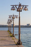 Metal forged lights on  promenade of  river. Stock Photography