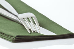 Metal fork and knife Royalty Free Stock Photo
