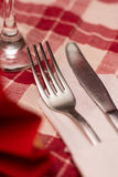 Metal fork setup tavern table Stock Image